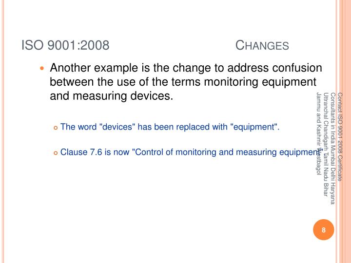 ISO 9001:2008 Changes