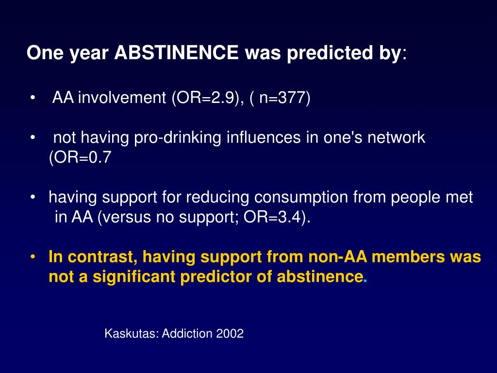One year ABSTINENCE was predicted by