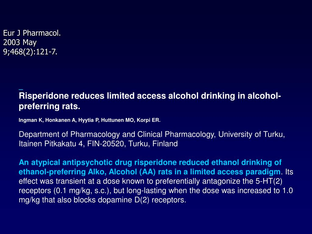 Risperidone reduces limited access alcohol drinking in alcohol-preferring rats.