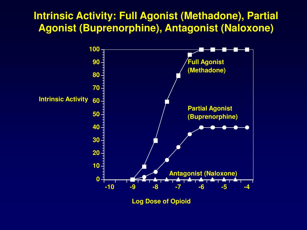 Intrinsic Activity: Full Agonist (Methadone), Partial Agonist (Buprenorphine), Antagonist (Naloxone)