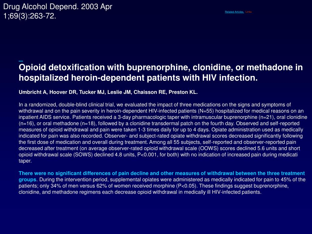 Opioid detoxification with buprenorphine, clonidine, or methadone in hospitalized heroin-dependent patients with HIV infection.
