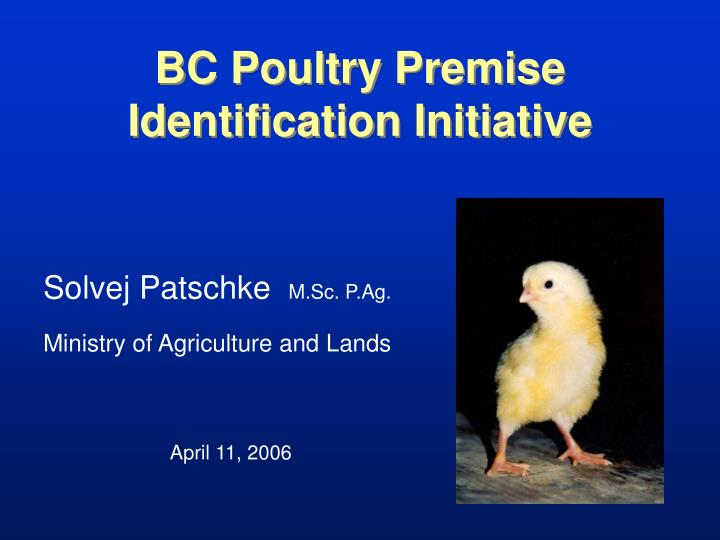 bc poultry premise identification initiative n.