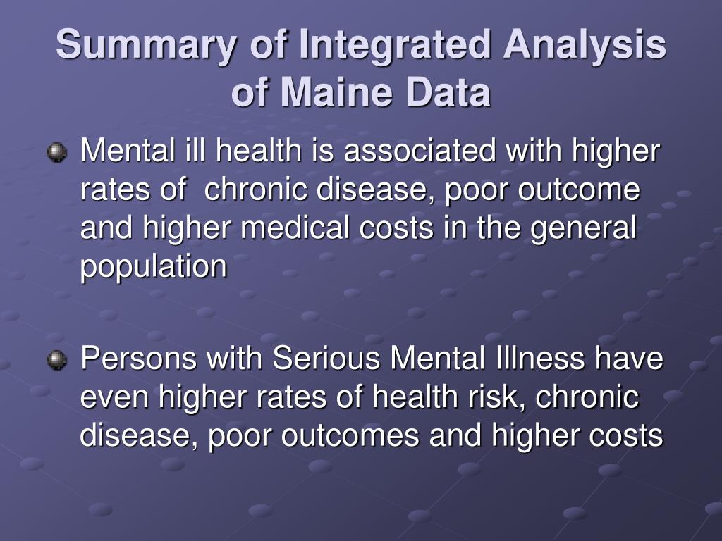 Summary of Integrated Analysis of Maine Data