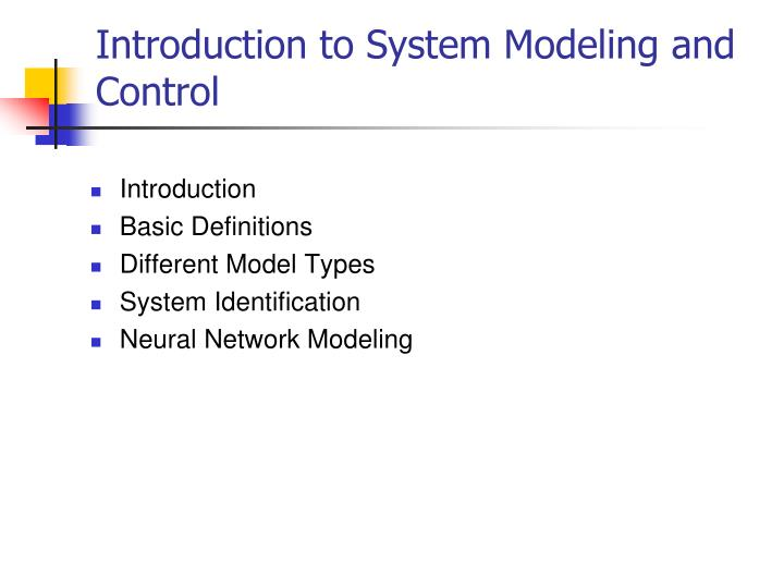 introduction to system modeling and control n.