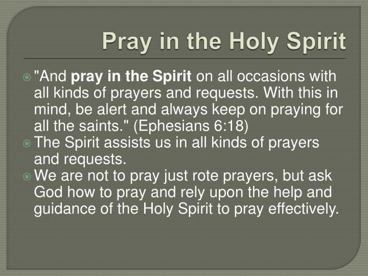 Pray in the Holy Spirit