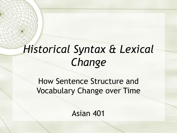 historical syntax lexical change n.
