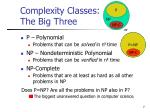 complexity classes the big three