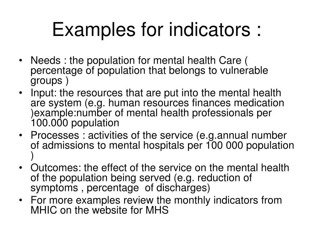 Examples for indicators :