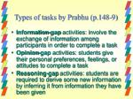 types of tasks by prabhu p 148 9