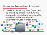 homeless prevention proposed