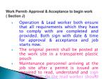 work permit approval acceptance to begin work section j