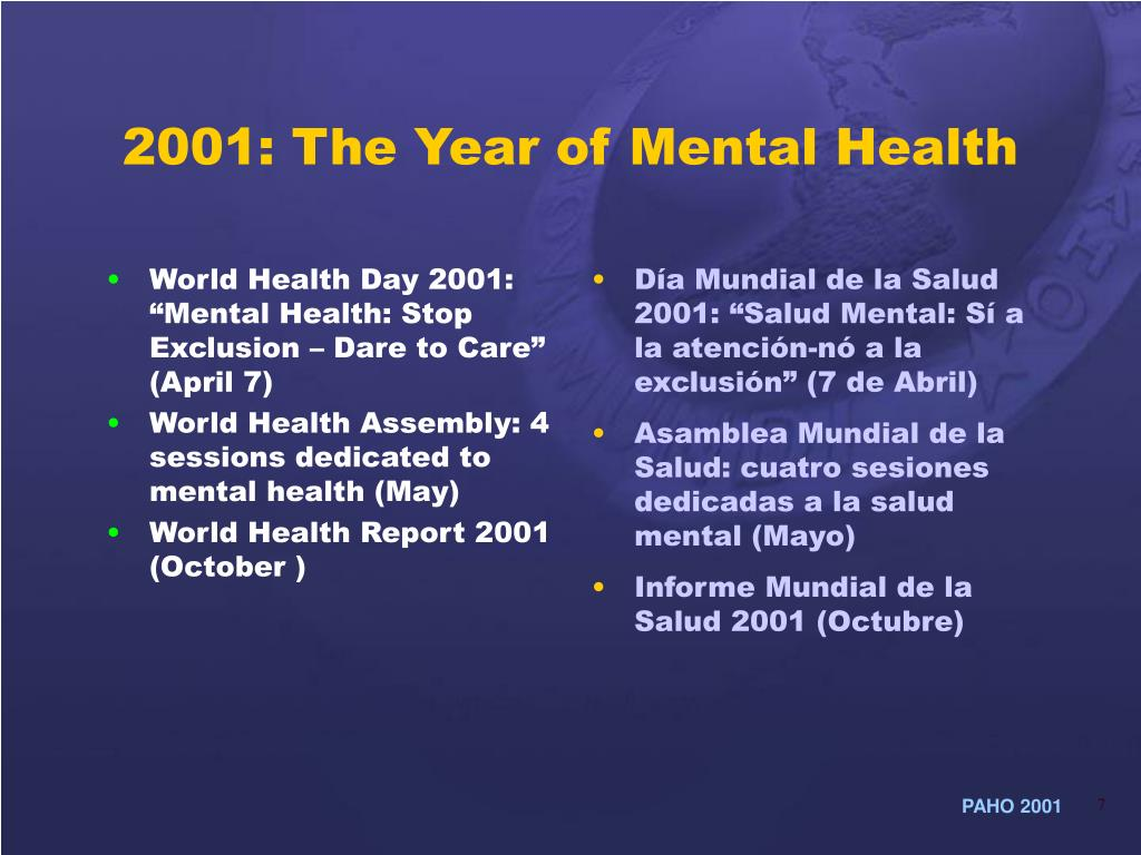 """World Health Day 2001: """"Mental Health: Stop Exclusion – Dare to Care"""" (April 7)"""