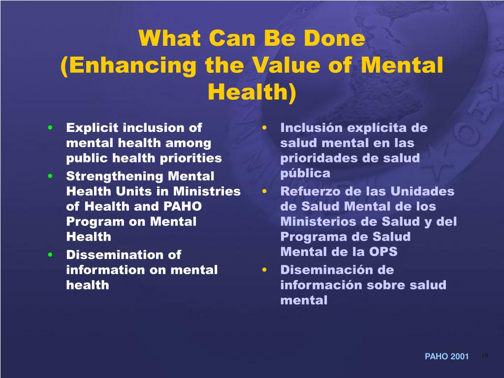 Explicit inclusion of mental health among public health priorities