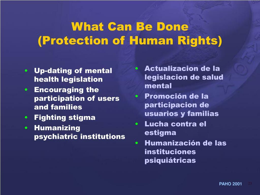 Up-dating of mental health legislation