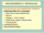 procedimiento y materiales