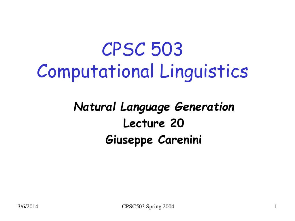 cpsc 503 computational linguistics l.