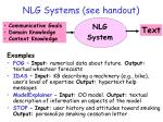 nlg systems see handout
