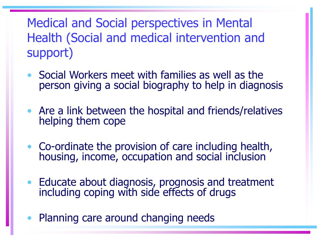 Medical and Social perspectives in Mental Health (Social and medical intervention and support)