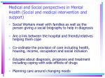 medical and social perspectives in mental health social and medical intervention and support21