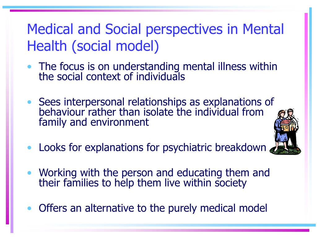Medical and Social perspectives in Mental Health (social model)