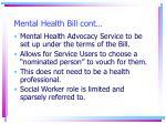mental health bill cont