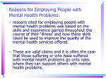 reasons for employing people with mental health problems