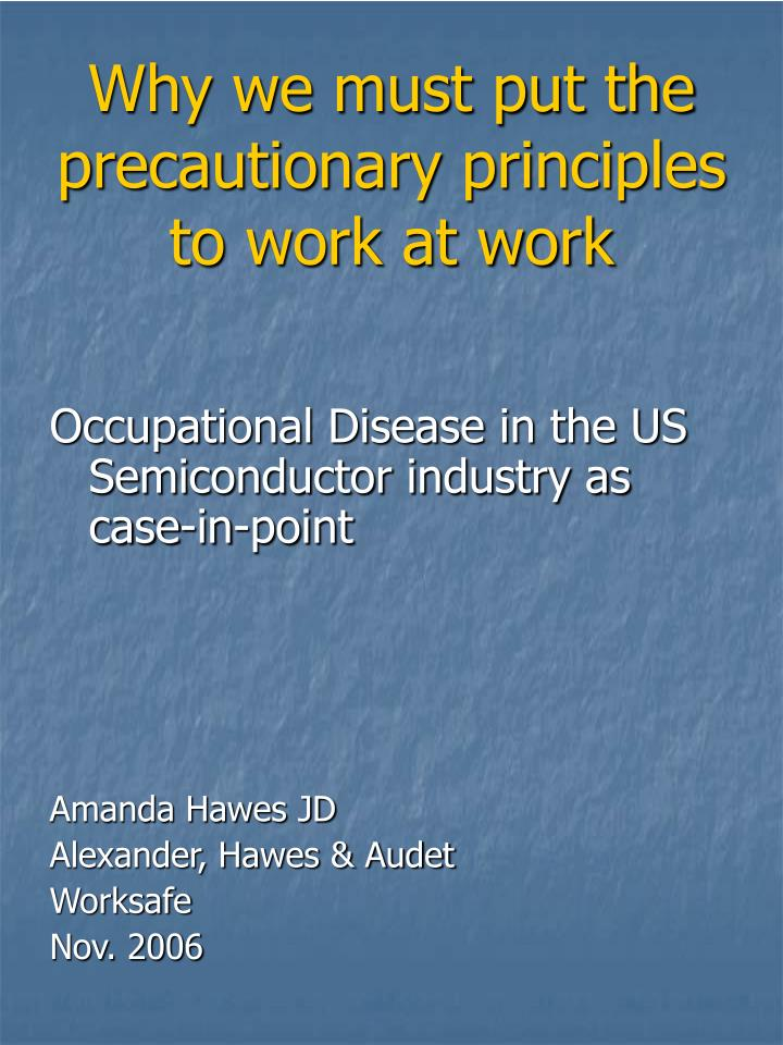 why we must put the precautionary principles to work at work n.