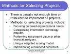 methods for selecting projects