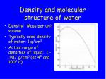 density and molecular structure of water