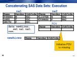 concatenating sas data sets execution