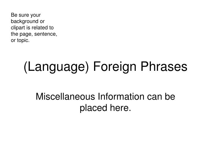 language foreign phrases n.