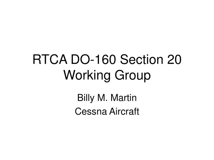 rtca do 160 section 20 working group n.