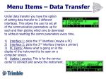 menu items data transfer