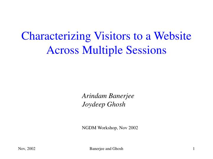 characterizing visitors to a website across multiple sessions n.