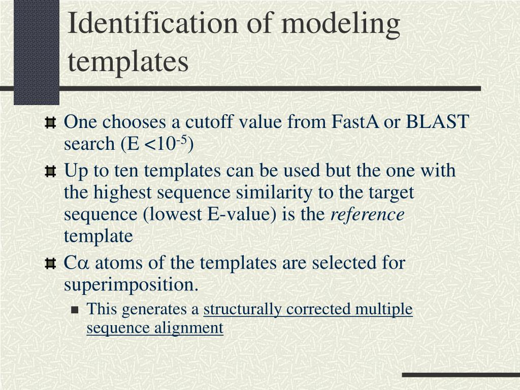 Identification of modeling templates