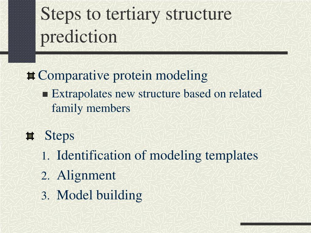 Steps to tertiary structure prediction