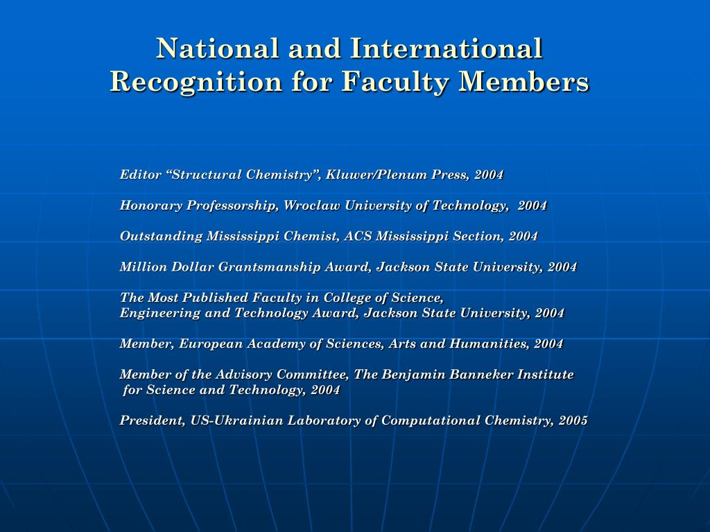 National and International Recognition for Faculty Members