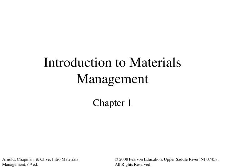 introduction to materials management n.
