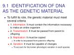 9 1 identification of dna as the genetic material