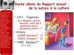 dur e id ale du rapport sexuel de la nature la culture