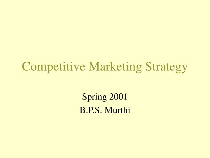 competitive marketing strategy n.