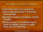 deciding on the role of e learning
