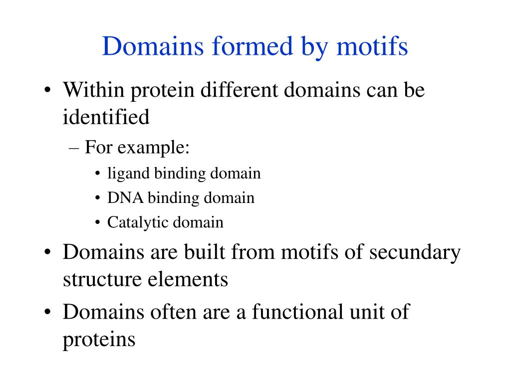Domains formed by motifs