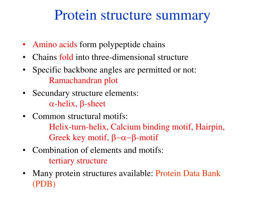 Protein structure summary