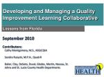 developing and managing a quality improvement learning collaborative