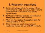 1 research questions