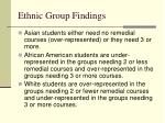 ethnic group findings