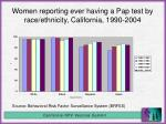 women reporting ever having a pap test by race ethnicity california 1990 2004