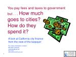 you pay fees and taxes to government but how much goes to cities how do they spend it
