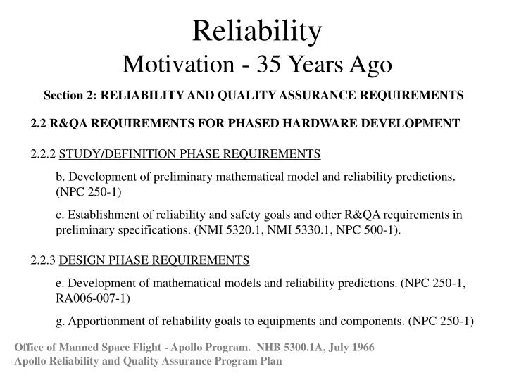 PPT - Reliability Motivation - 35 Years Ago PowerPoint
